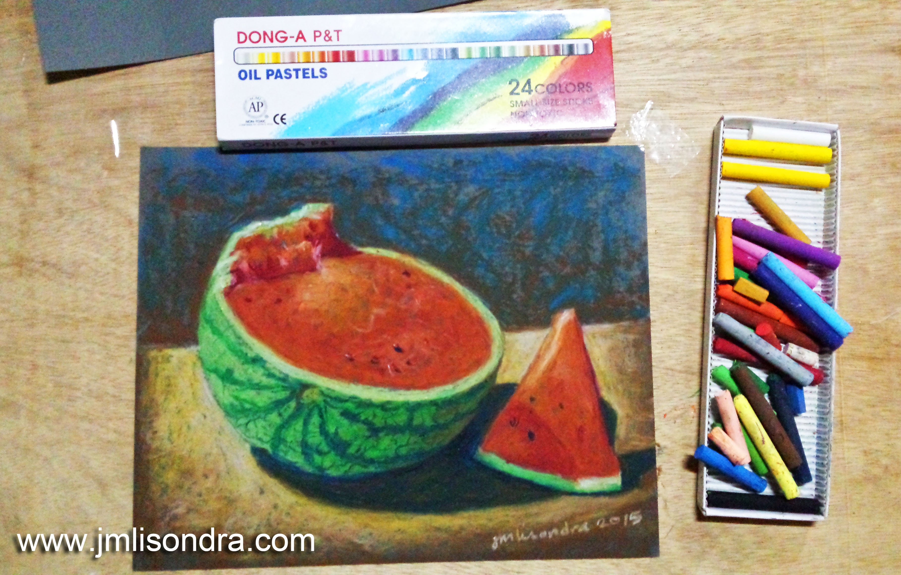 Oil Pastel On Sand Paper Painting Demo