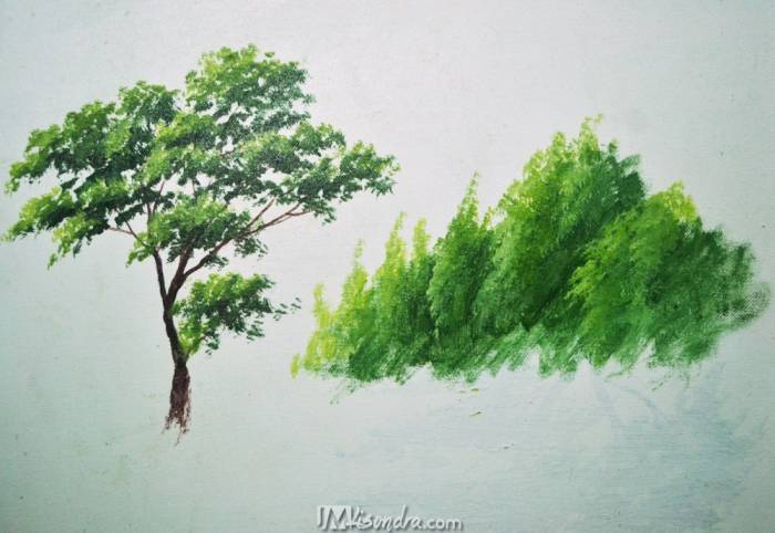 how to paint tree leaves and forest trees in step by step