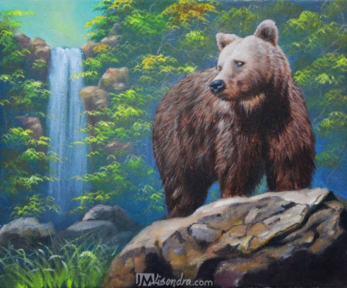 Traceable And Reference Photo Of Brown Bear And The Waterfall