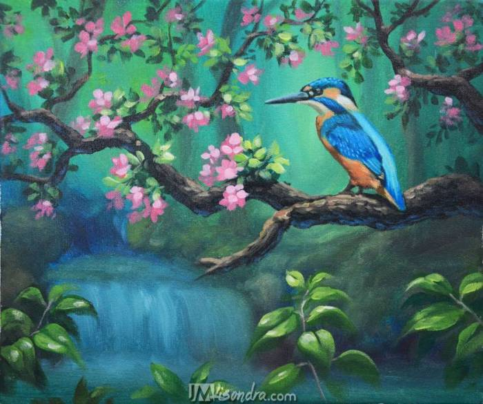 Reference Photos And Traceable For The Blue Bird And The Waterfall Acrylic Painting Tutorial