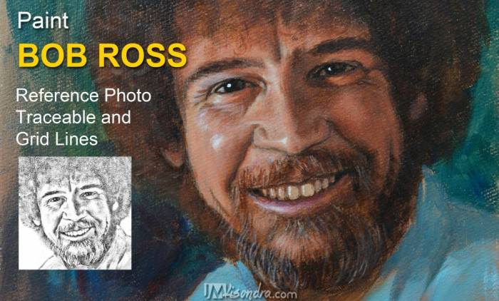Reference Photo, Traceable And Graphed Of Acrylic Portrait Painting Of Bob Ross