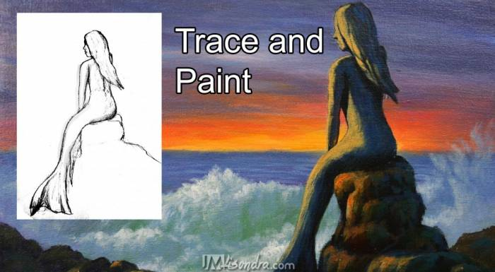 Traceable And Photo Reference Of Seascape And Mermaid Statue