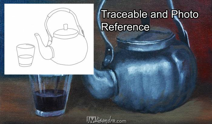 Traceable And Photo Reference Of Still Life With A Silver Teapot And Glass Cup
