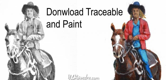 Reference Photos And Traceable For Lady Riding A Horse