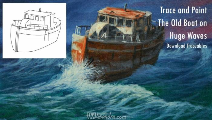 Photo Reference And Traceable Of The Old Boat On Huge Waves