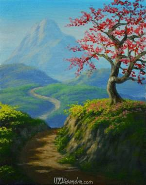 Cherry Tree On Top Of The Mountain