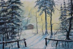Barn In Snow Forest
