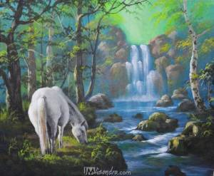 White Horse And The Waterfall
