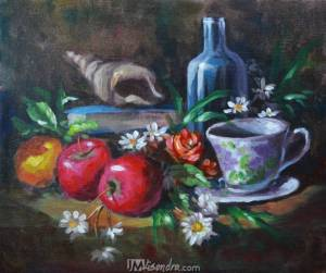Impressionistic Still Life With Apples And Coffee Mug