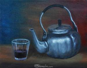 Still Life With Silver Teapot And Glass Cup
