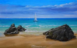Seascape With Rocks And Boat