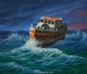 Old Fishing Boat On Huge Waves