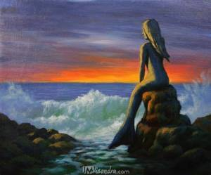 Seascape With Mermaid Statue