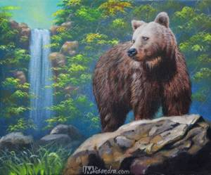Brown Bear And The Waterfall