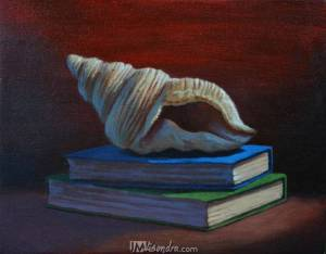 Still Life With Seashell And Books