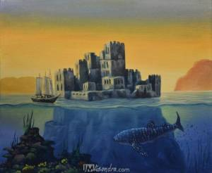 Surreal Landscape With Castle And Underwater Whale Shark