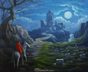 Lady On A White Horse And Castle