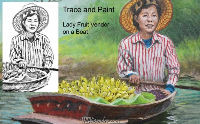 Old Lady Fruit Vendor On A Boat - Reference Photos And Traceable
