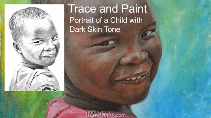 Portrait Of A Child With Dark Skin Tone - Reference Photos And Traceable