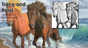 Traceable and Reference Photos for the Two Horses on the Beach with Crashing Waves