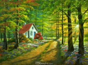 House In Colorful Forest
